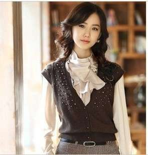 2012 Women Fashion Long Sleeve Shirt Blouse Top Ruffle Stand Collar 4