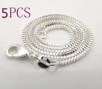 5pcs 1mm 925Sterling Silver Box chain Necklace size16