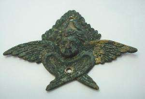19C. 1850s ANTIQUE MINI BRONZE APPLICATION CHERUB ANGEL