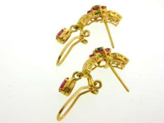 Stunning Natural Ruby & Emerald Solid 22K Gold Earrings