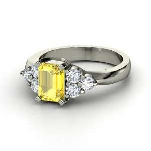 Apex Ring, Emerald Cut Yellow Sapphire Platinum Ring with