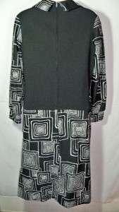 VINTAGE MOD BLack WHite Stretch 60s Dress by LEROK L/S Sz 12