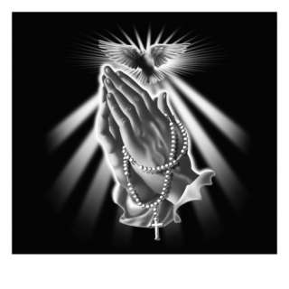 Hands with Rosary Beads and Dove Giclee Print at AllPosters