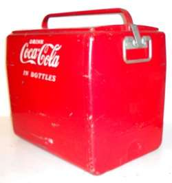VINTAGE 1950S CAVALIER COCA COLA COOLER * RED & WHITE METAL W/HANDLE