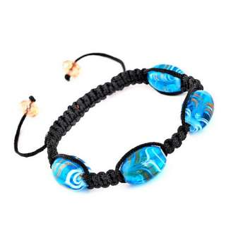 1p Hand Braid Chain Bracelet 6Colors With 12*18MM Drum Stripe Murano