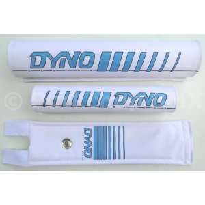 DYNO 3 Piece Nylon old school BMX Bicycle Padset   Early Logo   CYAN