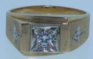 14K Yellow gold diamond vintage ring estate mens 9.6g