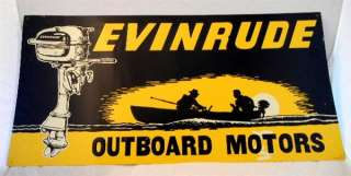 Antique Embossed Metal Evinrude Outboard Motor Sign Fishing Boat