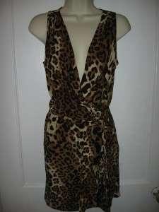 Nanette Lepore CELEBRATION Leopard Print Silk Dress 0 US / 4 UK