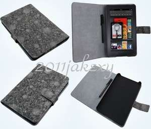 Cool Design Folio Leather Case+Stylus For  Kindle Fire 7 Tablet