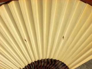Oriental Hand Painted Accordion Folding Fan Crane Motif |