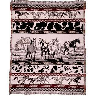 Simply Home Western Horse Scene Paints Afghan Throw 50 x 60 at