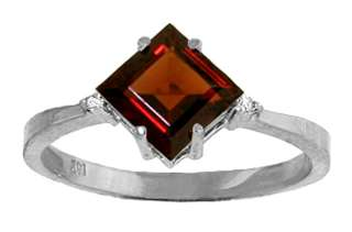 Princess Cut Natural Red Garnet Gem & Diamonds Ring 14K White Gold sz