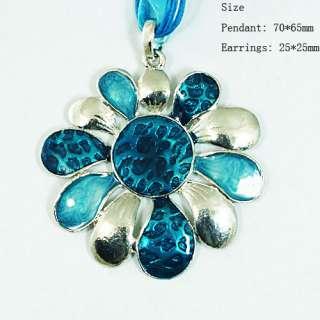 h7793 Blue Fancy Flower Wedding Gemstone Fashion Jewelry Necklace