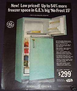 1965 GENERAL ELECTRIC NO FROST 15 REFRIGERATOR COLOR AD