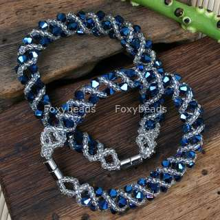 Blue AB Crystal Glass Beaded Lucky Gift Weave Bracelet