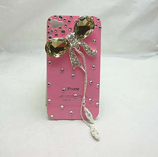 PG9 Bling Brown Crystal Bow Rhinestone Pendant Pink Case for iPhone 4