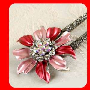 New Flower w/ SWAROVSKI Crystal Hair Stick Pin
