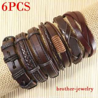 Wholesale lots Cool ethnic tribal 6pcs genuine leather bracelet C040