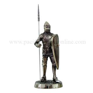 MEDIEVAL KNIGHT 7H CRUSADER SPEARMAN SHIELD STATUE FIGURINE SUIT OF