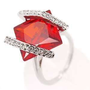 J Lo Style Bright Red Crystal Fashion Ring   size 8
