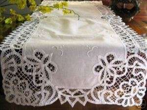 NEW 52 White Battenburg Lace Embroidery Table Runner Cloth Dresser