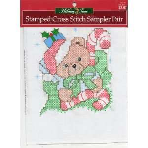 Holiday Time Stamped Cross Stitch Sampler Pair A Very Beary Christmas