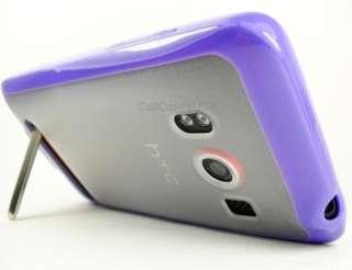 FOR HTC EVO 4G SPRINT PURPLE CLEAR TPU SOFT COVER CASE PREMIUM