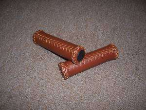 BROWN LEATHER GRIPS CHOPPER LOWRIDER CRUISER BICYCLE