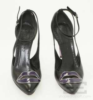 YSL Yves Saint Laurent Black Leather Purple Lips Heels Size 39.5