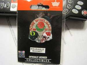 WISCONSIN 2012 BCS ROSE BOWL GAME DAY WEARABLE MAGNET LAPEL PIN