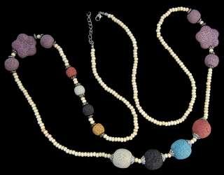 3x4mm 11x12mm 13x14mm Multi Color Rock Lava Necklace
