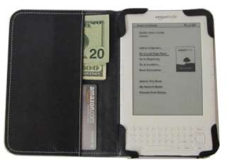 mCover® Black Leather Folio Cover for  Kindle 3