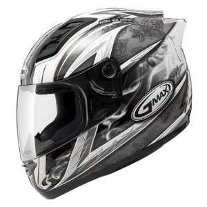GM69 Full Face Street Helmet   White/Dark Silver/Black 3X   72 48833X