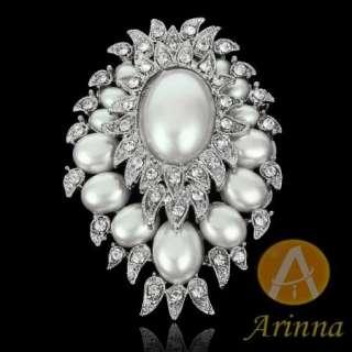 pearl rhinestone fashion Brooch Pin 18K WGP Swarovski Crystals