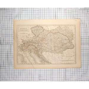 HALL ANTIQUE MAP c1790 c1900 HUNGARY AUSTRIA LOMBARDY
