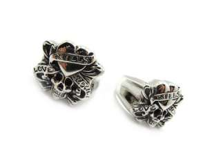 2PCS Mens gothic love kills skull stainless steel silver finger ring