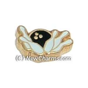 Bowling Ball Knocking Over Pins Floating Locket Charm