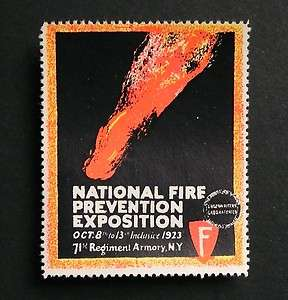 ** FIRE PREVENTION EXPO ** 1923 New York Advertising Label
