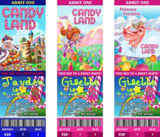 Birthday Party Personalized Custom Ticket Invitations Princess Lolly