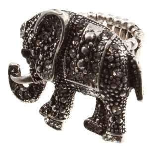 Silver tone stretch band ring featuring an ornate elephant