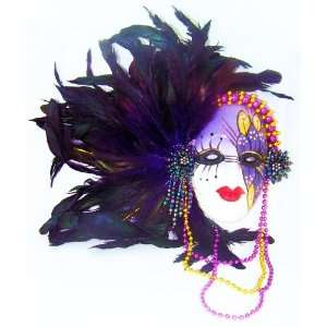 Feather Face Mask Porcelain Wall Art Decor Mardi Gras Home & Kitchen