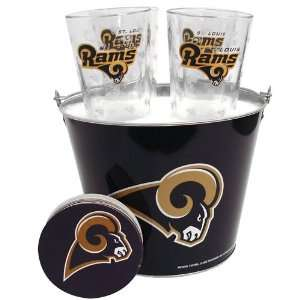 St. Louis Rams NFL Metal Bucket, Satin Etch Pint Glass & Coaster Set