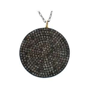 14k Yellow Gold Plated Sterling Silver Big Disc Pendant with White/Off