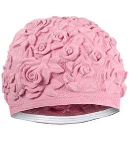 FLORAL EMBOSS VINTAGE STY LATEX SWIM CAP (Pink)