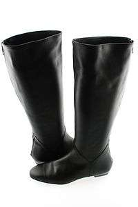 Delman Aden Knee High Tall Flat Boot Shoe Black Soft Leather 8