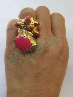 Womens Ladies Bohemian Iconic Arty Enamel Dots Ring Gold tone Vintage