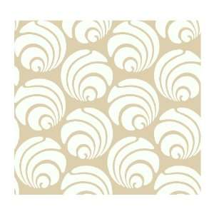 AP7467 Silhouettes Large Circle Swirl Geometric Wallpaper, Beige/White