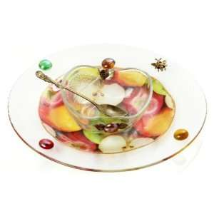Glass Rosh Hashanah Honey Dish on Stand with Picture of