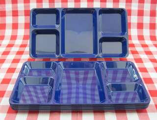 Compartment   Plastic Camping Picnic Patio Cafeteria Lunch Trays